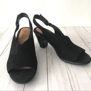 Sofft EuroSoft Black Suede Heeled Sandals Sz 9.5